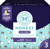 The Honest Company Club Box Overnight Baby Diapers, Sleepy Sheep, Size 3 (60 Count)