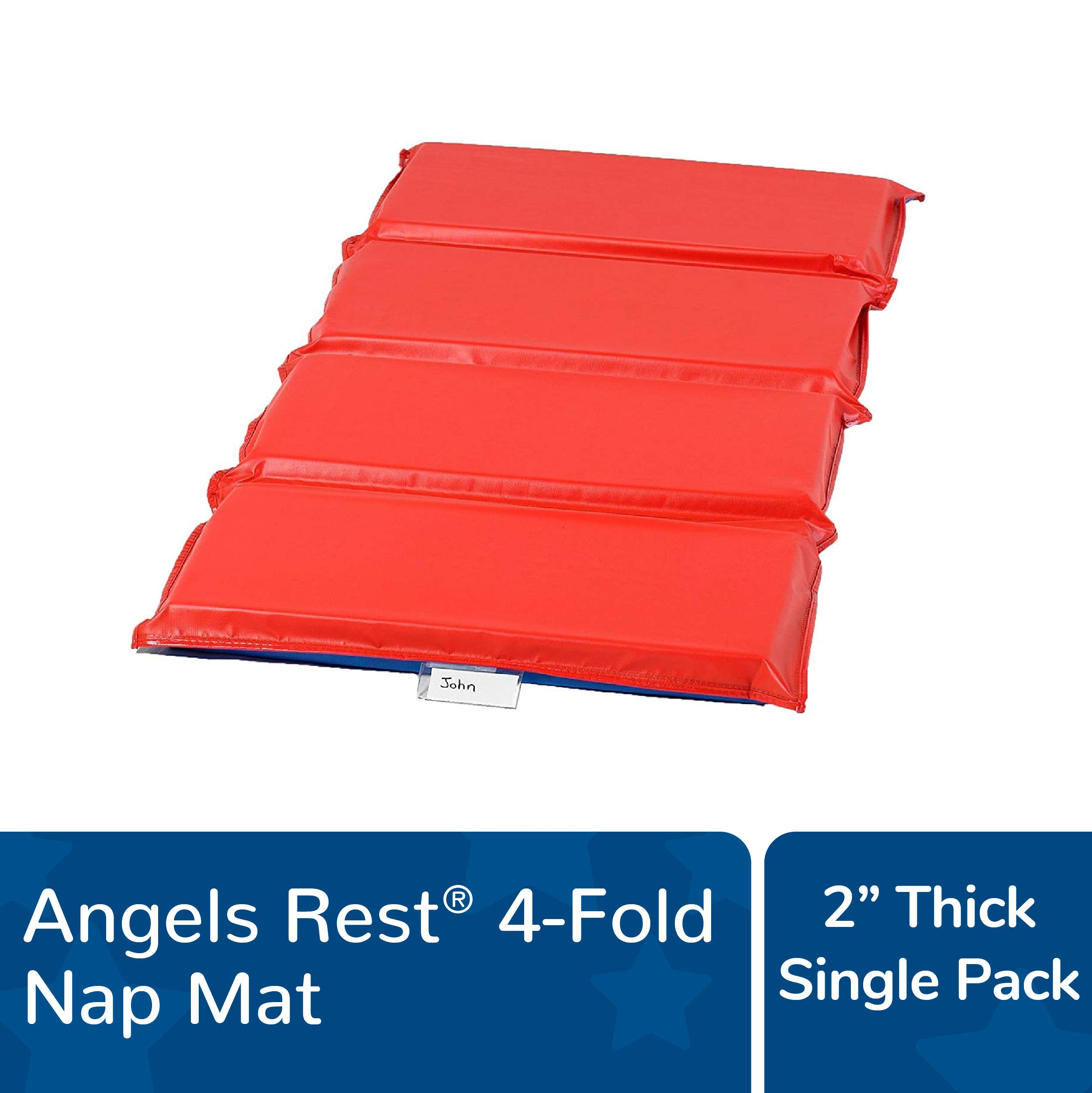 """Angeles Rest 2"""" Nap Mat, 4 Section Folding Sleeping Mats for Kids/Toddlers Daycare, Bacteria-Resistant Waterproof Seams, Homeschool/Classroom Rest Mat"""