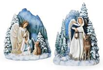 "Joseph's Studio by Roman - Set of 2 Slim Profile Angel Scene with Animals, Christmas Collection, 7"" H, Resin and Stone, Decorative Figures, Collection, Durable, Long Lasting"