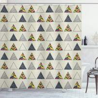 """Ambesonne Geometric Shower Curtain, Abstract Hand Drawn Triangles with Minimalist Modern Native Boho Style Illustration, Cloth Fabric Bathroom Decor Set with Hooks, 75"""" Long, Taupe"""