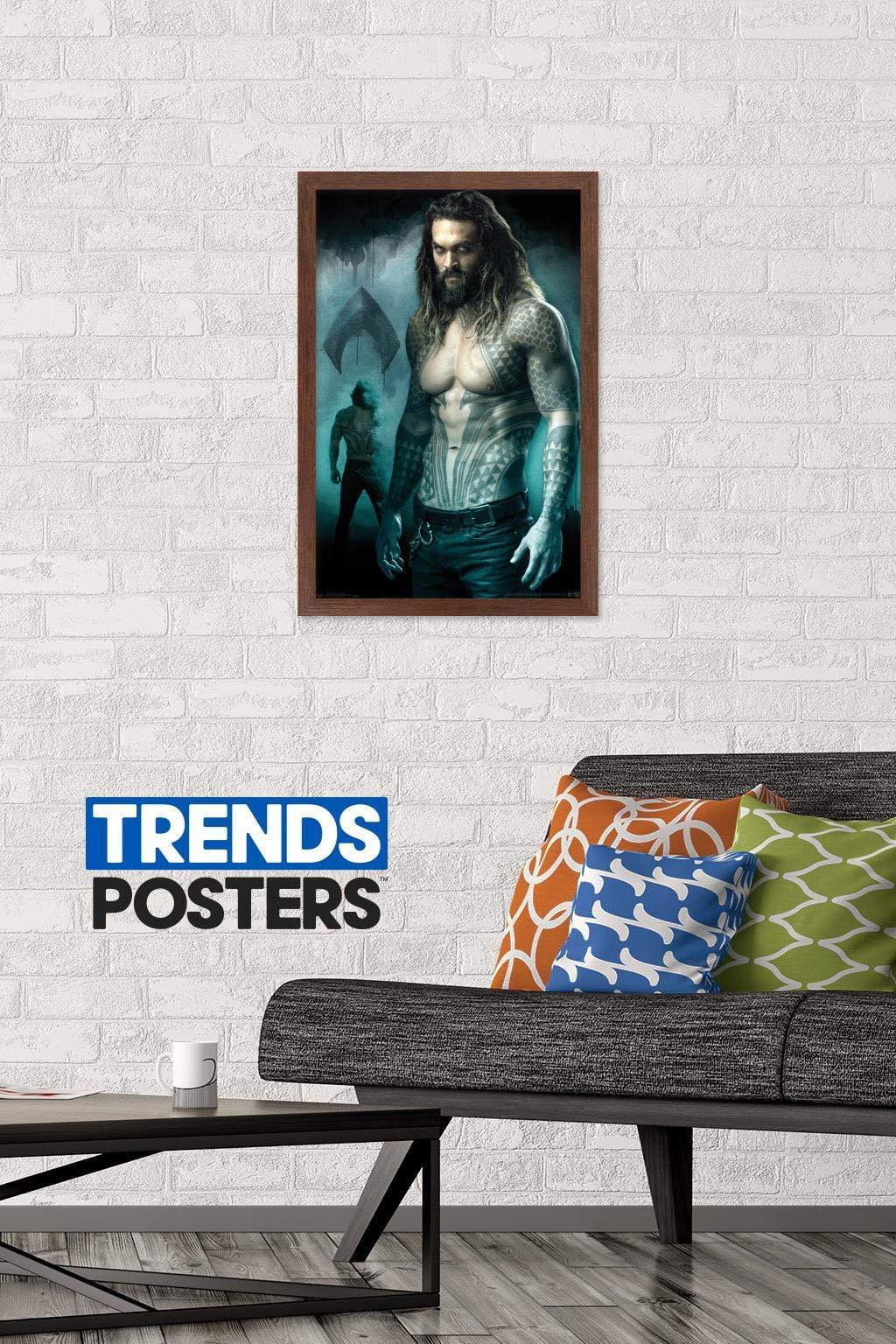 "Trends International DC Comics Movie - Justice League - King of Atlantis, 14.725"" x 22.375"", Mahogany Framed Version"