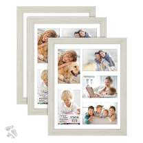Langdon House 11x14 Collage Picture Frames w/Mat for 5-4x6 Photos (Almond White, 3 Pack) Woodgrain Style, Wall Mount Only, Richland Collection