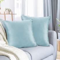 "Nestl Bedding Throw Pillow Cover 26"" x 26"" Soft Square Decorative Throw Pillow Covers Cozy Velvet Cushion Case for Sofa Couch Bedroom, Set of 2, Aqua Light Blue"