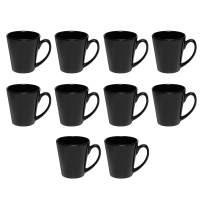 Glossy Ceramic Latte Coffee Mug 12 Oz With Handle - Smooth Molded, Ceramic - Perfect For Tea, Cappuccino, Hot Cocoa - Glossy Vibrant Finish - 12 Ounce - 10 Pack - Black