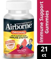 Vitamin C 750mg - Airborne Very Berry Flavored Gummies (21 count in a bottle), Gluten-Free Immune Support Supplement with Echinacea and Ginger, Packaging May Vary