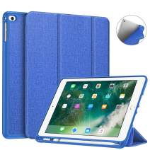 Fintie Case with Built-in Pencil Holder for iPad 9.7 2018 2017 / iPad Air 2 / iPad Air - [SlimShell] Lightweight Soft TPU Back Protective Cover w/Auto Wake Sleep, Royal Blue