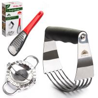 Stainless Steel Pastry Cutter Set Professional - Dough Blender and Biscuit Cutters - Perfect as a Pie Crust Cutters or Butter Slicer - Dumpling Ravioli Maker