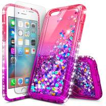 iPhone 6S Case, iPhone 6 Glitter Case w/[Tempered Glass Screen Protector], NageBee Liquid Quicksand Waterfall Floating Sparkle Bling Diamond Shockproof Durable Women Girls Kids Cute Case -Pink/Purple
