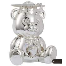 Matashi Silver Plated Graduation Bear with Crystals Perfect Graduation Gift Tabletop Ornament Home Decor Showpiece for Living Room Gift for Student