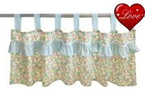Brandream Baby Girls Window Valance Green Floral Curtain Boho Valance Farmhouse Cotton Ruffle Valance for Baby/Kids/Toddler Nursery Bedroom Decor, Sweet Chic