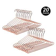 "Amber Home Deluxe 17"" Rose Gold Copper Wire Metal Hangers 20 Pack, Strong Heavy Duty Metal Coat Hangers, Shirt Pants Slim Hangers for Blouse, Dress, Clothes (Copper Color, 20 Pack)"