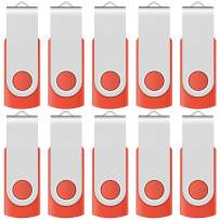 [NOT 128GB ] Enfain 10 Pack Small Capacity 128 MB USB Flash Drive Bulk Thumb Drives 128MB in Red, with LED Indicator, 12 x Removable White Labels for Marking Contents Loaded