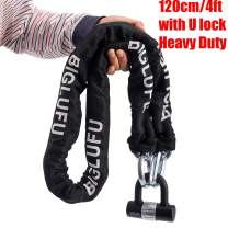 BIGLUFU Bike Lock Motorcycle Chain Locks 5ft/4ft Long Heavy Duty, Square Chains, Ideal for Generator, Gates, Motorcycle, Motorbike (120cm/4ft 3kg Chain with a 4 Keys U Lock)