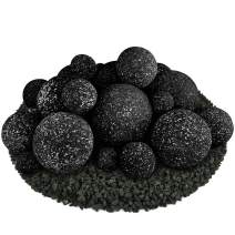 Ceramic Fire Balls | Mixed Set of 23 | Modern Accessory for Indoor and Outdoor Fire Pits or Fireplaces – Brushed Concrete Look | Midnight Black, Speckled