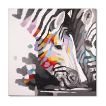 Bignut Art Paintings Hand Painted Oil Painting Funny Animal Zebra Wall Art on Canvas Framed Wall Decor for Living Room Bedroom Office (30x30 Inches, Zebra)