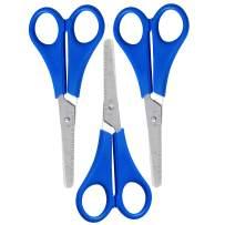 WA Portman Kids Scissors Bulk - 3 pc 2.5 Inch Blue Blunt Edge Child Safe Scissors - The Perfect Classroom Scissor Set for Teachers and Students - Left and Right Handed Kid Scissor School Supplies