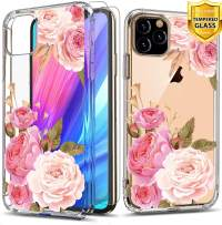 Suordii for iPhone 11 Flower Case, iPhone 11 Case with Tempered Glass,Shockproof Clear Floral Pattern Soft TPU and Hard PC Back Cover for iPhone 11 6.1 inch 2019 - Peony/Pink