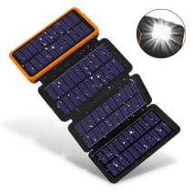 Solar Charger 20000mAh, F.DORLA Solar Power Bank with 4 Solar Panels and 5V/2.1A USB Port, Portable Solar External Battery with Bright Led Flashlight(SOS)&Hook for Outdoor Activity/Emergency