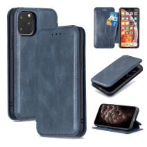QLTYPRI iPhone 11 Pro Case Luxury PU Leather Cover TPU Bumper with Detachable Card Slots Hands-Free Kickstand Magnetic Closure 360 Full Protection Shockproof Flip Folio Wallet Case - Blue
