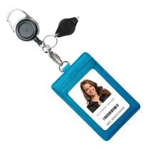 Genuine Leather ID Badge Holder Wallet with Heavy Duty Carabiner Retractable Reel, Key Ring and Metal Clip, 3 Card Pockets. Holds Multiple Cards & Keys. Key Chain Flashlight. Vertical. Carolina Blue