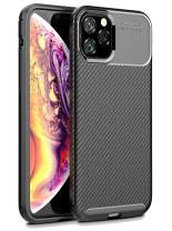 LuvCase Phone Case for New iPhone 11 Pro, [Premium Carbon Fiber] Ultra-Slim Full Body Protection Shockproof Rugged Bumper Case (Black)