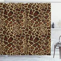 """Ambesonne Zambia Shower Curtain, Giraffe Skin Pattern Wildlife Symbolic Zoo Hippie Style Picture, Cloth Fabric Bathroom Decor Set with Hooks, 70"""" Long, Yellow Redwood"""