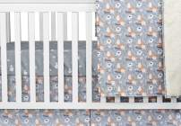 Brandream Fox Crib Bedding Sets Floral Nursery Bedding Blanket with Fox Print, Gray Cradle Sets 3 Piece Cotton Breathable Fitted Sheet Sets for Boys Girls, Baby Shower Gifts