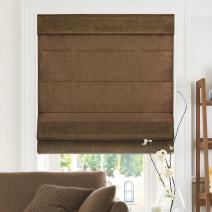 """CHICOLOGY Cordless Roman Shades Cross-Hatched Modern Fabric Cascade Window Blind Treatment Belgian Chocolate (Privacy & Light Filtering) 47""""W X 64""""H"""