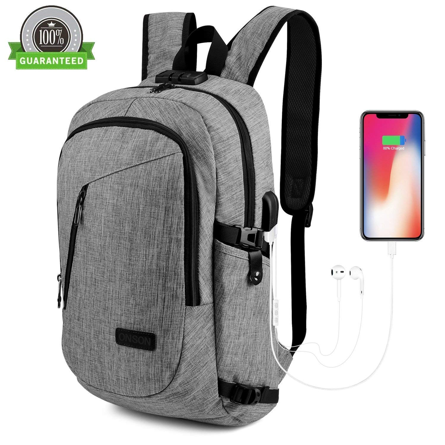 Travel Laptop Backpack, ONSON Laptop Backpack Anti Theft Business Backpack for Men Women, Water Resistant Slim Computer Bag USB Charging Port Fits 15.6 Inch Laptop Notebook - Gray