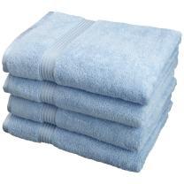Superior 100% Long Staple Combed Cotton Bath Towel Set, 4 Piece, Light Blue