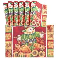 """Naanle Thanksgiving Placemats Set of 6, Scarecrow Sunflower Pumpkin Non Slip Heat-Resistant Washable Table Place Mats for Kitchen Dining Table Home Decoration, 12"""" x 18"""""""