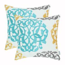 CaliTime Pack of 2 Cotton Throw Pillow Cases Covers for Bed Couch Sofa Vintage Compass Geometric Floral Embroidered 16 X 16 Inches Turquoise Gold Gray