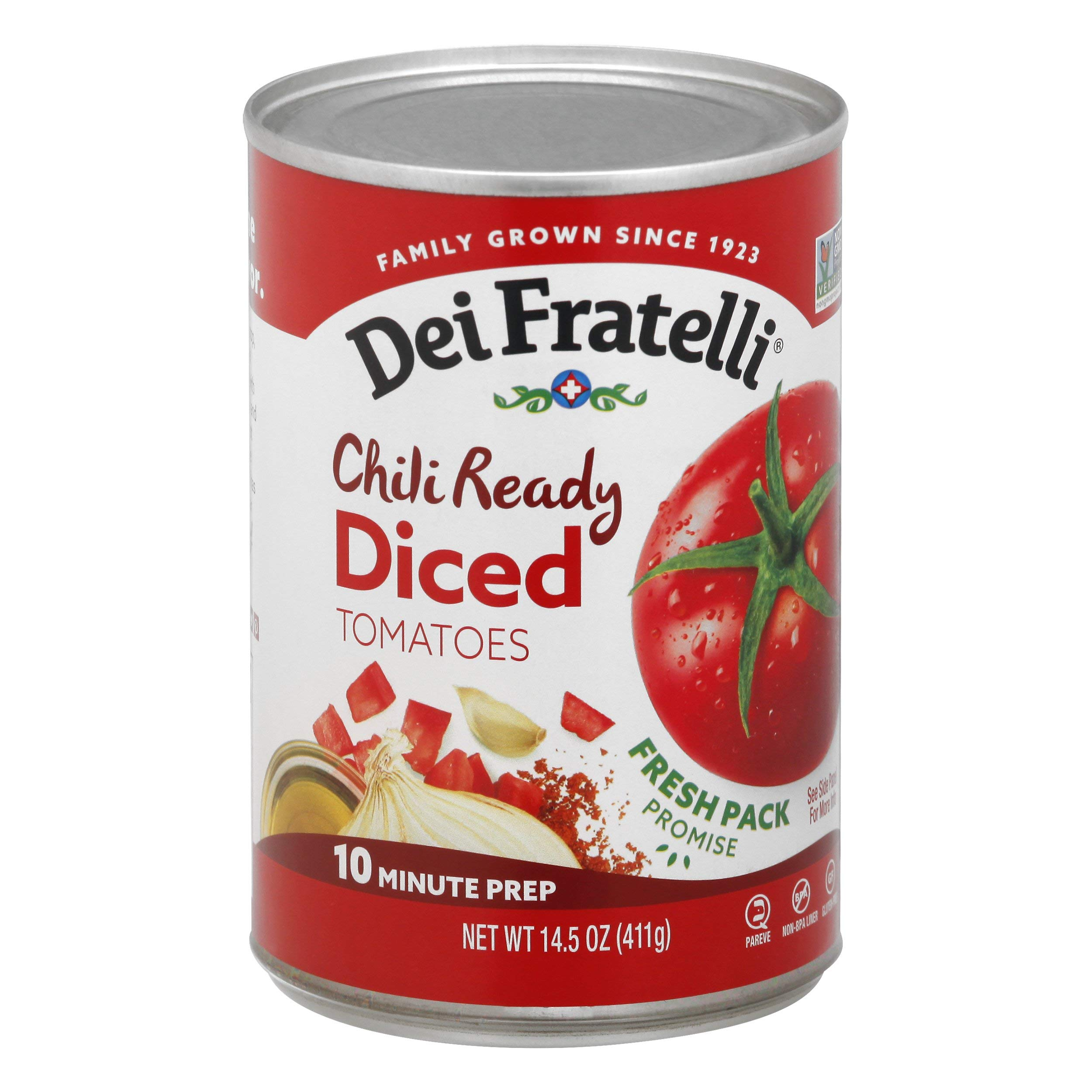 Dei Fratelli Chili Ready Diced Tomatoes - All Natural - 5th Generation Recipe (14.5 oz. cans; 12 pack)