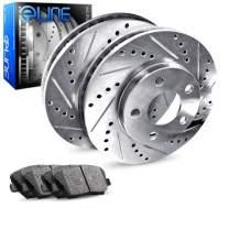 For RX330, Highlander, RX400h, RX350 Rear Drill/Slot Brake Rotors Kit + Ceramic Pads
