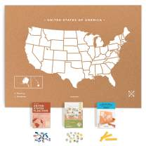 Miss Wood Push Pin United States Travel Map Kit Includes: Cork US Map, State Flags and Travel Stickers, for Travelers (XL (23.6 x 35.4 inches), White)