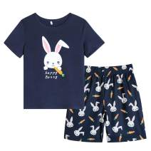Vopmocld Big Girl's Lovely Bunny Pajama Sets Cute Summer Sleepwear Bear Patterns Nightclothes