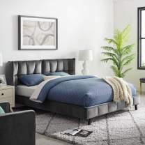 Modway Makenna Tufted Upholstered Velvet Queen Platform Bed in Gray