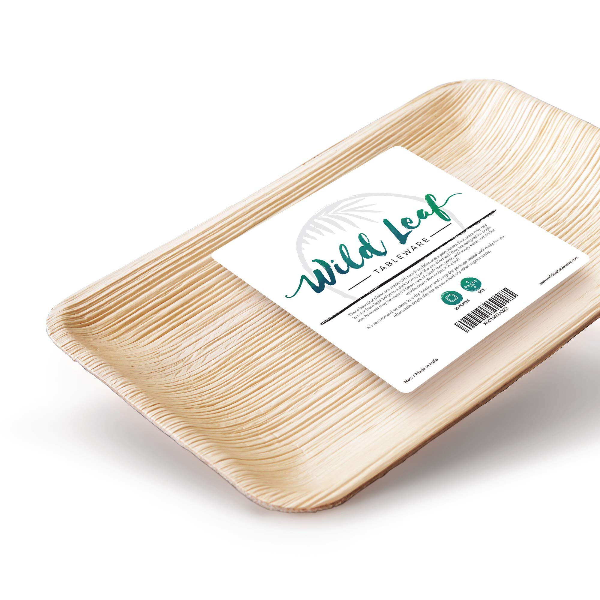 Rectangular Palm Leaf Plates 9.5 x 6 Inch, 25 Pack. Natural, Eco-friendly, Plastic-Free Disposable Party Pack by Wild Leaf Tableware