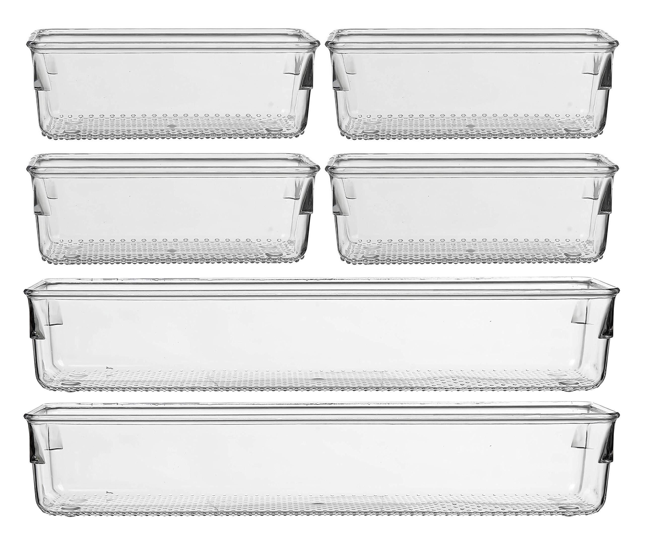 "IHOMECOOKER 6 Pack Clear Drawer Organizer Vanity Cutlery Utensil Makeups Drawer Organizer 12'' 6"""