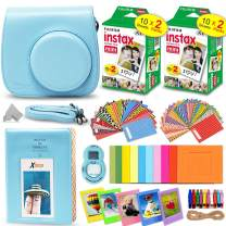 Fujifilm Instax Mini Instant Film (2 Twin Packs, 40 Total Pictures) + Ice Blue Fitted Case for Instax Mini 9 Instant Camera, Assorted Colorful Stickers/Frames, Photo Album + More
