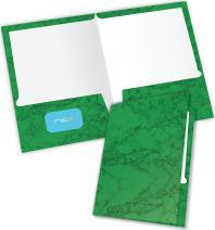 New Generation 2 Pocket Presentation Folder/Portfolio Heavy Duty Paper UV Glossy Laminated, 6 Folders Per Pack in a Display Box, Marble Green
