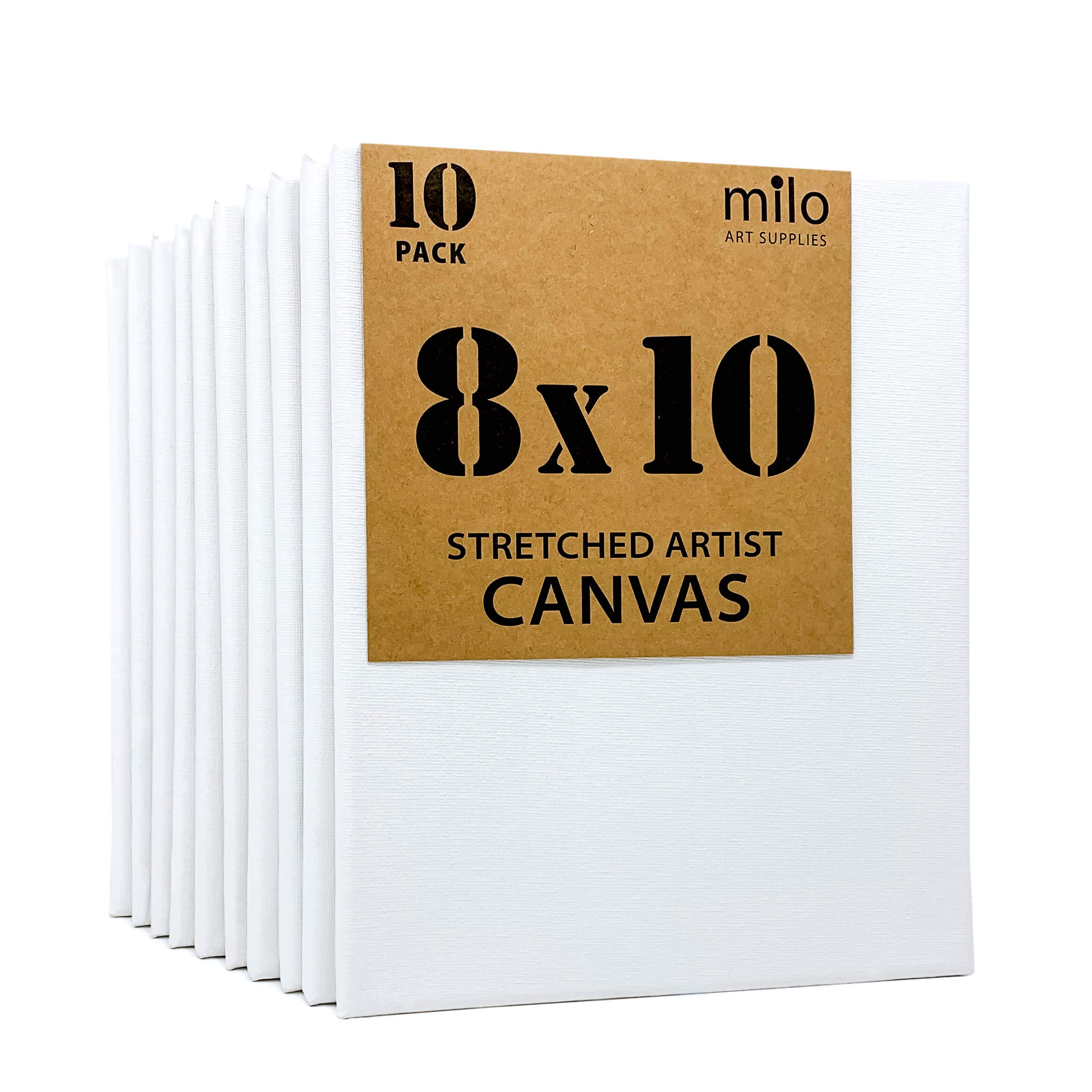 """MILO   8x10"""" Stretched Artist Canvas Value Pack of 10   Primed Cotton Art Canvas Set for Painting   Ready to Paint Art Supplies   10 White Blank Canvases"""