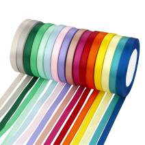 VATIN Assorted Color Single Faced Satin Christmas Wrapping Ribbon 16 Colors 3/8 inches,25 Yard/Rolls, Rainbow Ribbon Set, Perfect for Embroidery/braiding/Girls Hair Ribbons/Leis and Wands -400 Yds
