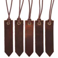 Jagucho Leather Bookmarks for Men Women Teen Boys Girls, Handmade Reading Page Markers for Book, Perfect Gift for Reader Writers, Set of 5 PCS (Umber 04-1)