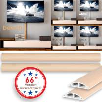 TV Cord Cover Wall Floor Cable Raceway Natural Beech Cable Concealer Cable Management Wire Hider Kit for 2 Cables Organizer Self Adhesive Channel 50x12 mm Total Length 66 Inches