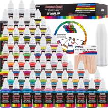 U.S. Art Supply 54 Color Ultimate Acrylic Airbrush, Leather & Shoe Paint Set with Cleaner, Thinner, 50-Plastic Mixing Cups, 50-Wooden Mix Sticks and a Color Mixing Wheel