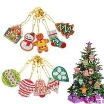 10pcs Christmas DIY Diamond Key Chain 5D DIY Diamond Painting Key Chain Pendant Handicraft Key Chain Including The Patterns Christmas Supplies