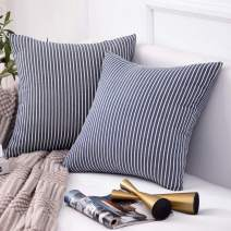 Jepeak Comfy Cotton Striped Throw Pillow Covers Cases, Pack of 2 Soft Decorative Square Ticking Cushion Covers for Sofa Couch (18 x 18 Inches, Denim Blue)