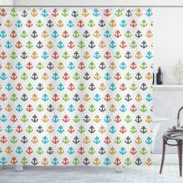 """Ambesonne Anchor Shower Curtain, Retro Style of Marine Life Colorful Graphic Tile Kids Children Design, Cloth Fabric Bathroom Decor Set with Hooks, 75"""" Long, Blue Green"""