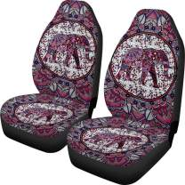 Dreaweet Classic Boho Elephant Car Seat Covers for Women Girls Vehicle Car Decoration Front Seat Protective Cover Bag Full Set of 2 Fit Most Car Truck SUV and Van